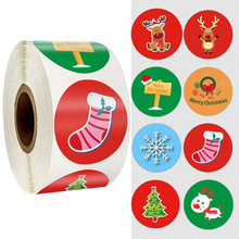 цена на 500pcs Christmas Sticker cartoon Christmas Tree Design Paper Label Baking Gift Sticker Merry Christmas Stationery Stickers