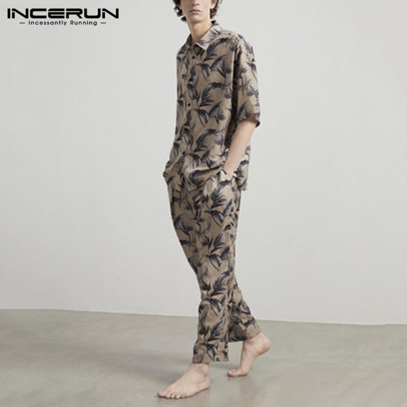 INCERUN Fashion Printing Men Pajamas Sets Homewear Short Sleeve Tops Pants Sleepwear Suit Cozy Men Nightgown Sets 2 Pieces S-5XL