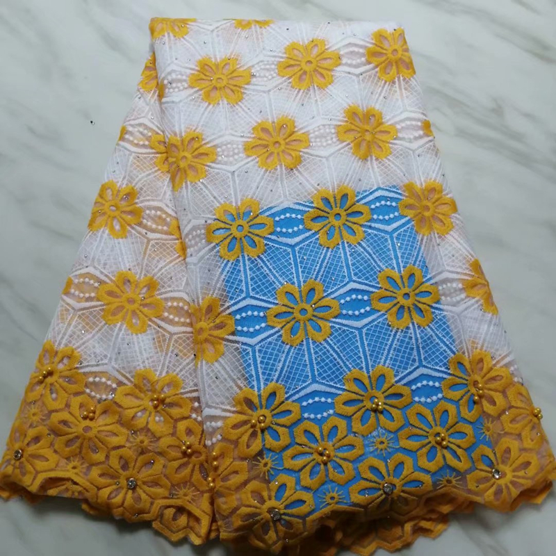 Bright Yellow Latest French Lace Fabric 2019 African Nigerian Embroidered Tulle Lace Fabric With Stones For Wedding Party Dress