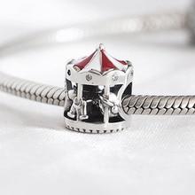 Authentic S925  DIY Jewelry Christmas Carousel Charm fit Lady Bracelet Bangle