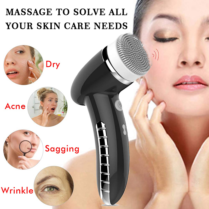 Image 2 - 4 IN 1 Facial Cleansing Brush Sonic Vibration Mini Face Cleaner Silicone Deep Pore Cleaning Electric Face Massage WaterproofPowered Facial Cleansing Devices   -