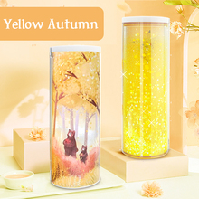NBX Yellow Quicksand Translucent Creative Multifunction Pencil Case Stationery Pen Holder  Newmebox ABS Pencil Box  Home Office