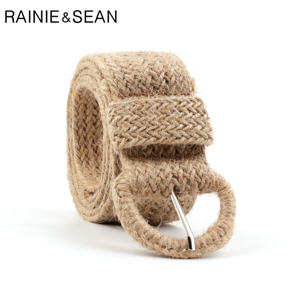 RAINIE SEAN Braided Belt for Women Khaki Casual Bohemian Style Women Woven Belt Hemp Rope Wax Flax Linen Belt