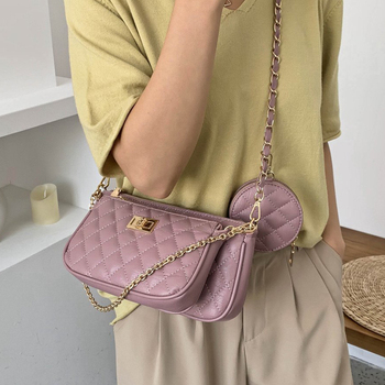 Fashion Women Messenger Three in One Shoulder Bags Female Fashion Plaid Chains Ladies Handbags Casual Crossbody Bag Ladies Totes vintage crocodile composite handbags women shoulder crossbody bags 2020 fashion totes ladies messenger bag female purses