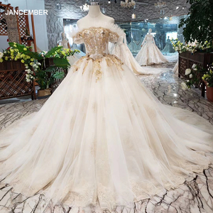 Image 1 - HTL323 Special sexy Wedding Dress with train off shoulder boat neck bridal dress gown free shipping mariage champetre
