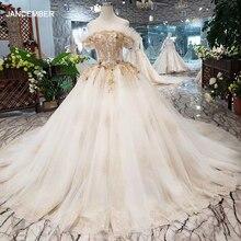 HTL323 מיוחד סקסי שמלות כלה עם רכבת כבויה סירת צוואר כלה שמלת שמלת משלוח חינם mariage champetre