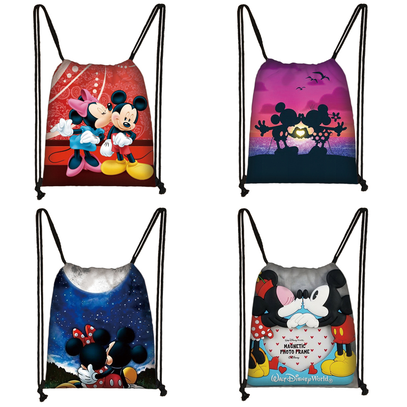 Mickey Minnie Print Drawstring Bag Women Travel Bag Teenager School Bag Brown Girl And Boy Backpack Fashion Female Storage Bag W