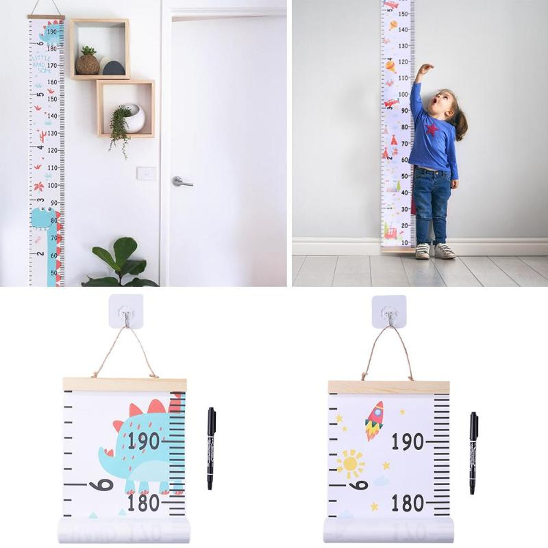 Wood Wall Hanging Baby Height Measure Ruler Wall Sticker With Hooks PensKids Growth Chart Xmas Bedroom Decor Photography Props