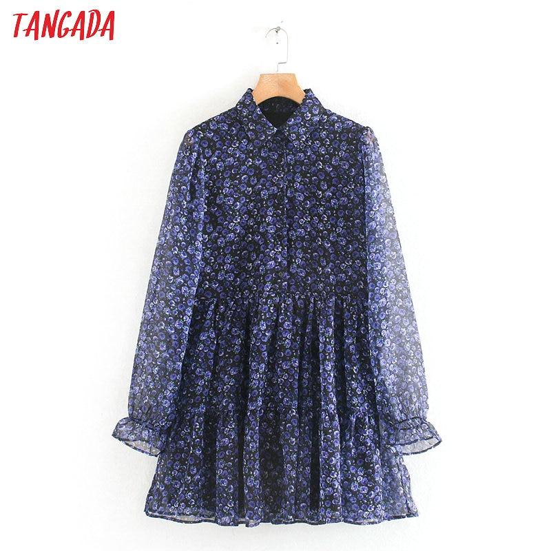 Tangada Fashion Women Ruffles Blue Floral Print Shirt Dress Turn Down Collar Mesh Patchwork Long Sleeve Vintage Vestidos 2XN166