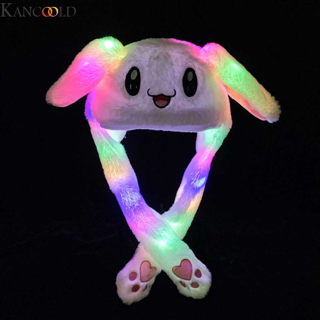 KANCOOLD Lovely Luminous Plush Rabbit Hat Funny Play Toy Up Down Moving Bunny Ears Airbag Toy Hat Girlfriend Children Gifts