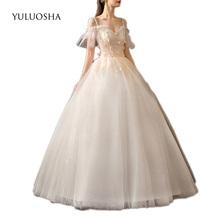 YULUOSHA koronkowe aplikacje do sukni ślubnej bez ramiączek zasznurować Organza długość podłogi suknie ślubne suknie ślubne Vestido De Noiva tanie tanio Krótki NONE Lace up REGULAR Draped Koronki Wielowarstwowa Illusion Wedding Dresses Naturalne China Suknia balowa white