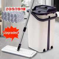 Flat Squeeze Mop and Bucket Hand Free Wringing Mop Magic Kitchen Floor Cleaning Wet or Dry Usage With Microfiber Pads