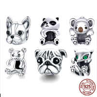 BISAER 925 Sterling Silver French Bulldog Dog Animal Bear Panda European Beads Charms Fit Original Silver 925 Jewelry Making