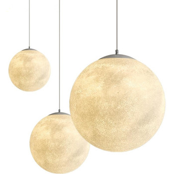 Novelty Creative Moon Atmosphere Pendant Lights 3D Print Pendant Moon Lights Restaurant/Bar Hanging Lighting Pendant Lamp