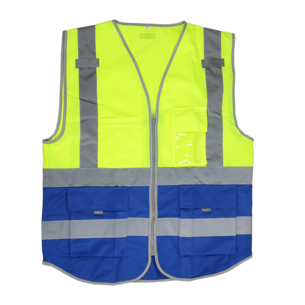 High Visibility Reflective Safety Vest with Pockets and Zipper  Breathable Mesh Jacket Waistcoat|Reflective Safety Clothing| |  - title=