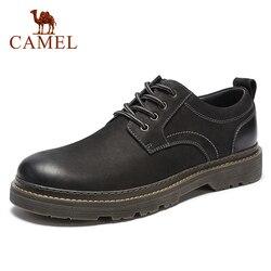 Camel sapatos masculinos outono casual de baixo corte workwear esfrega couro genuíno flexível matte couro homem calçado antiderrapante botas masculinas