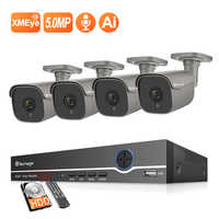 Techage 4CH 5MP POE NVR Kit Ai IP Camera System Two way Audio Body Human Detection Outdoor Waterproof Video Surveillance System