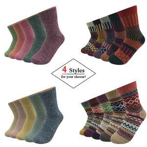 Image 3 - 5 Pairs/Lot Wool Socks Women Winter Harajuku Japanese Bohemian Cashmere Warm Socks Ladies Girl Christmas Gift