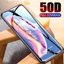 Закаленное стекло 50D с полным покрытием для iphone 8, 7 Plus, 6, 6s, Защитное стекло для экрана iphone X, XS, MAX, XR, 5, зеркальное защитное стекло