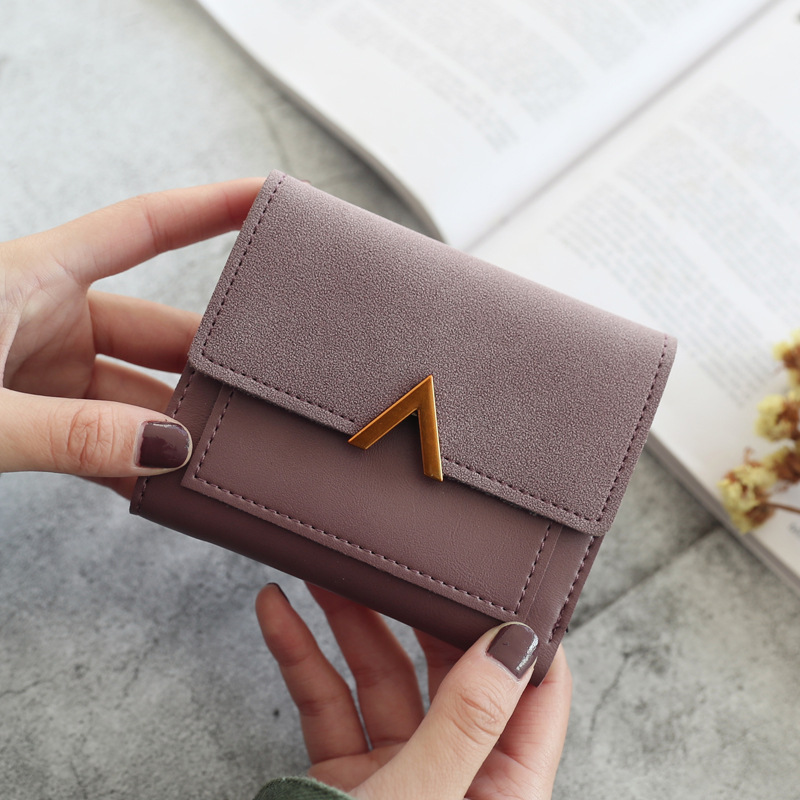 Fashion Metal V Word Decoration Women Wallets Matte Retro Hasp Short Purse Small Cash Clips Womens Wallets And Purses Money Bag