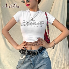 ArtSu Cartoon Duck Letter Print Tshirts White Crop Top Cute 2020 Summer Women Sh