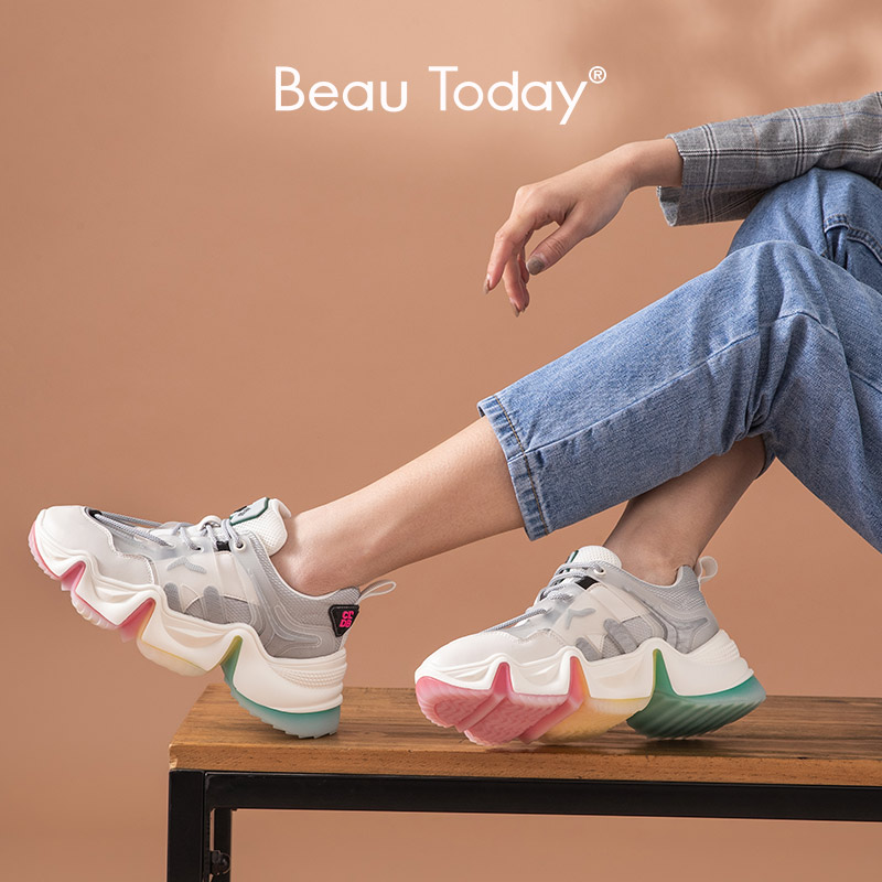 BeauToday Chunky Sneakers Women Genuine Cow Leather Rainbow Jelly Outsole Cross-Tied Round Toe Lady Casual Shoes Handmade A29360