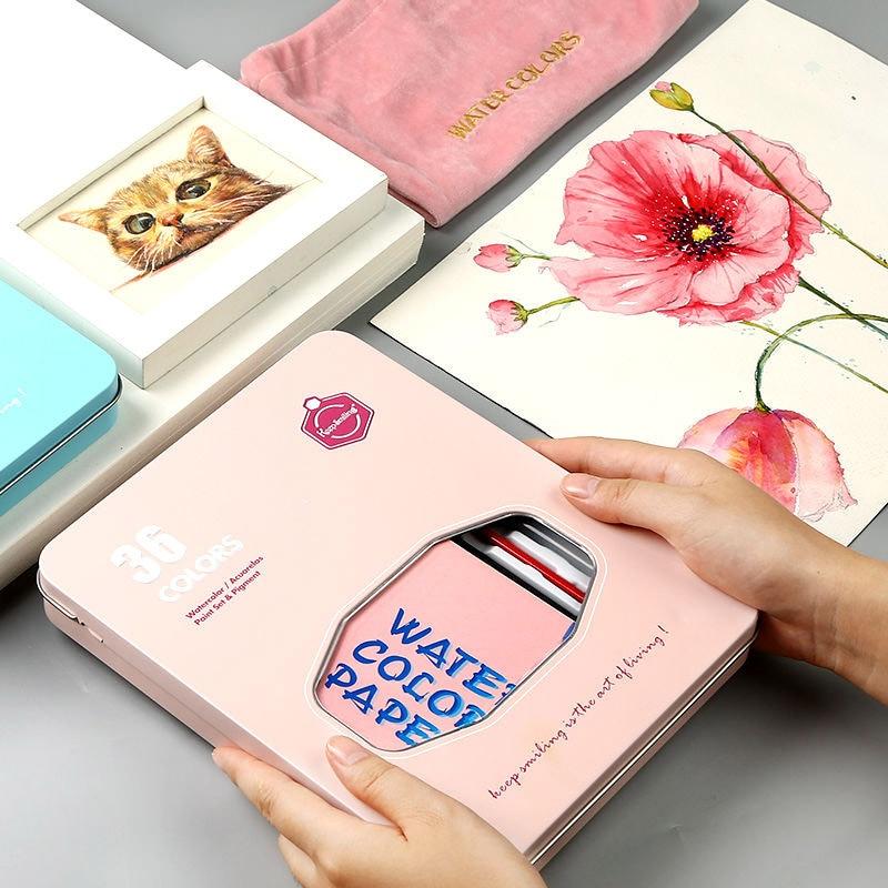 Watercolor Pigment Set 36-color Watercolor Paint Student Hand-painted Portable Painting Set Iron Box Water Color Art Supplies