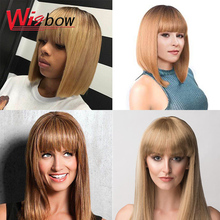 Short Bob Wig Blonde Red Colored Human Hair Wigs Straight Fringe Wig With Bangs For Black Women Cheap Wigs With Free Shipping hot selling bob wig with side bangs cheap good quality straight short cut wigs for black women