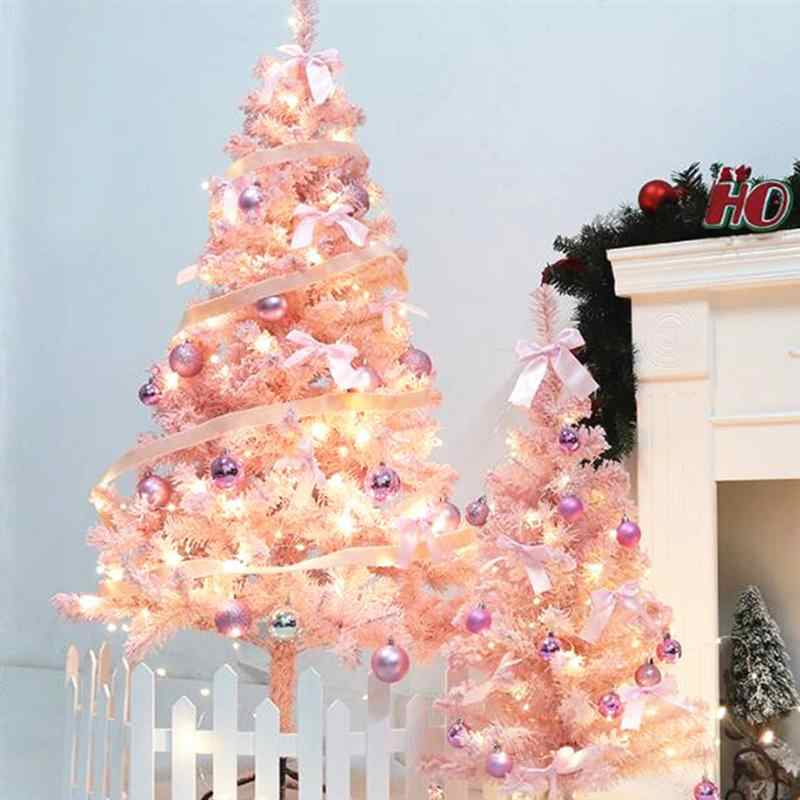 60/90CM Christmas Tree Pink PVC Christmas Tree Decoration Lovely Flocking Tree Christmas Cedar Tree FOR Party Home Decoration