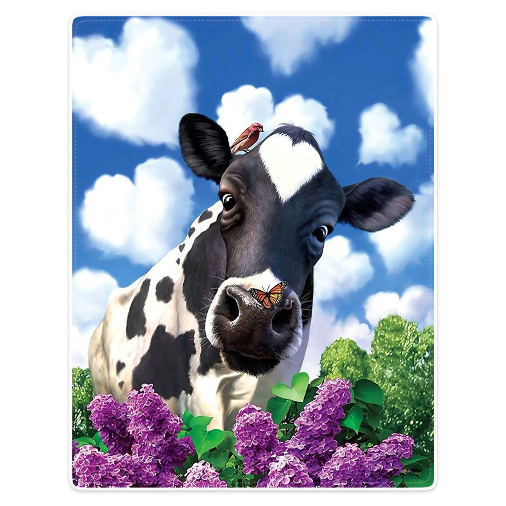 Blanket Comfort Warmth Soft Plush Throw Cow Blue Sky White Clouds Flowers