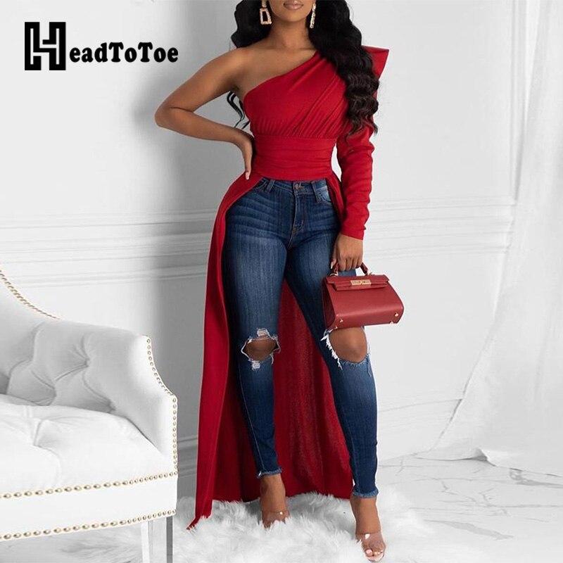 Solid One Shoulder Dip Hem Blouse Women Long Sleeve Skew Collar Asymmetrical Casual Blouses Tops