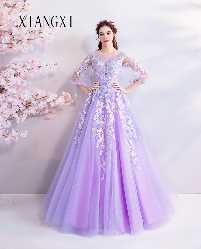 XIANGXI Pink Evening Dresses Long Ball Gown Off The Shoulder Floor Length Formal Party Gowns Prom Dress Vestido De Festa Longo