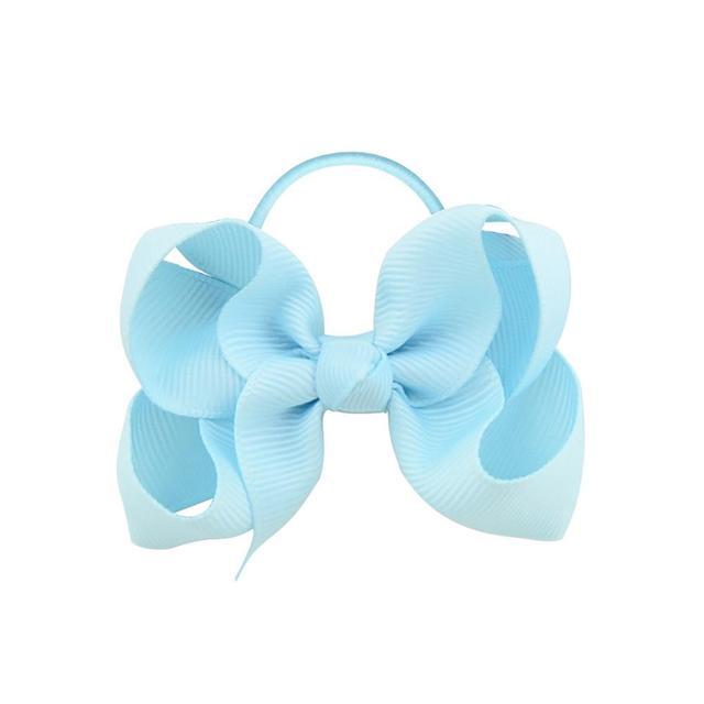 20Pcs/lot Solid Grosgrain Ribbon Bows For Baby Girls Ponytail Holder Hair Bands Elastic Rope Handmade Headband Hair Accessories 5