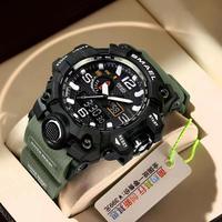 Smael 2021 Mode Mannen Sport Horloges Dual Display Analoge Digitale Led Elektronische Quartz Horloges Waterdicht Lichtgevende Klok