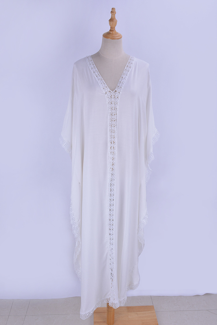 Seaside Beach Long Skirts Bathing Suit Coat Blouse Cotton Tassels Loose And Plus-sized White Dress Bikini Outdoor