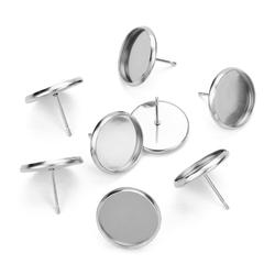 50pcs Stainless iron Blank Earring Base Cameo Base Fit 8 10 12 14 16 18 20 mm Glass Cabochons Earring Setting Diy Jewelry Making