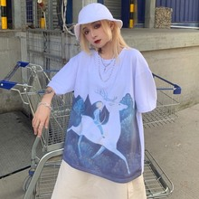Fashion Trend Loose Casual Cartoon Print Tee Street Style Round Neck Plus Size Long Clothes Womens Top Preppy Half Sleeve