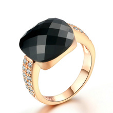 אופנה 14K עלה זהב נשים יהלומי טבעות תכשיטי עם גדול שחור חן אירוסין חתונה טבעות זירקון אבן תכשיטים