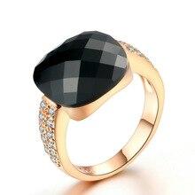 Moda 14K gül altın kadın elmas yüzük takı büyük siyah taş nişan alyanslar zirkon taş güzel takı