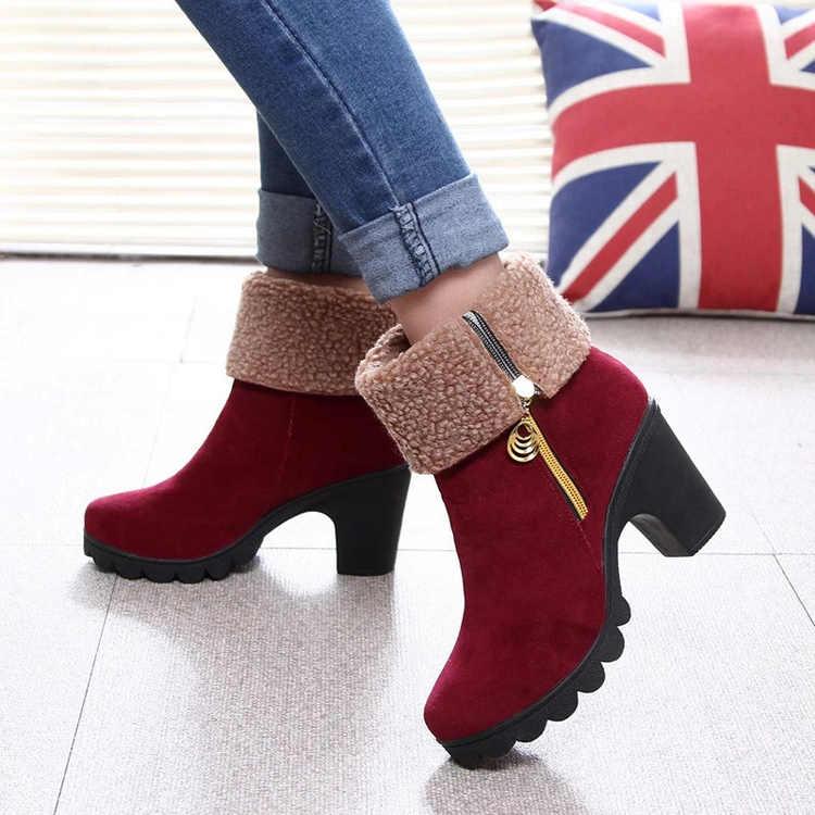 Kadın Kış Yüksek Topuk Çizmeler Sıcak Peluş Kare Topuklu Kış Ayakkabı kadın Çizmeler Bayanlar Moda Marka Ayak Bileği Kar çizmeler