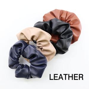 New Arrival Soft Leather Scrunchie Elastic Hair Ring Ponytail Holder Black Scrunchie for Women Hair Accessories Scrunchie Pack