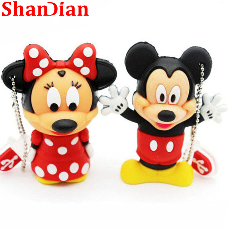 SHANDIAN Mouse Mickey And Minnie USB Flash Drive Animal Cartoon Flash Drive 4GB / 8GB / 16GB / 32GB/64GB Memory Stick U Disk