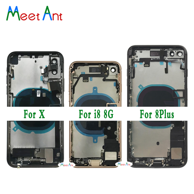 Assembly Battery-Cover Chassis Flex-Cable Door Middle-Frame Full-Housing iPhone 8 8-Plus/x-Back title=