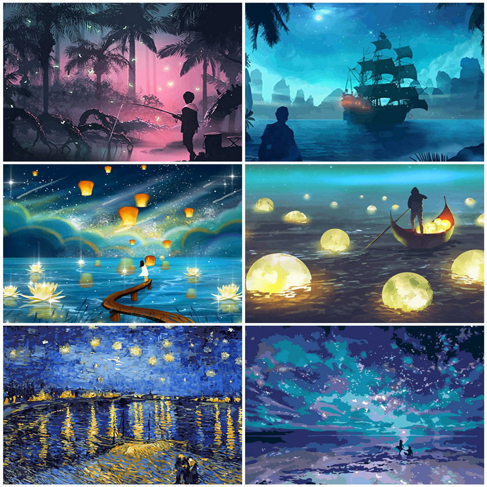 AZQSD Oil Painting By Numbers Night Landscape Handpainted Gift DIY Coloring By Numbers River Acrylic Paint Wall Art Kits