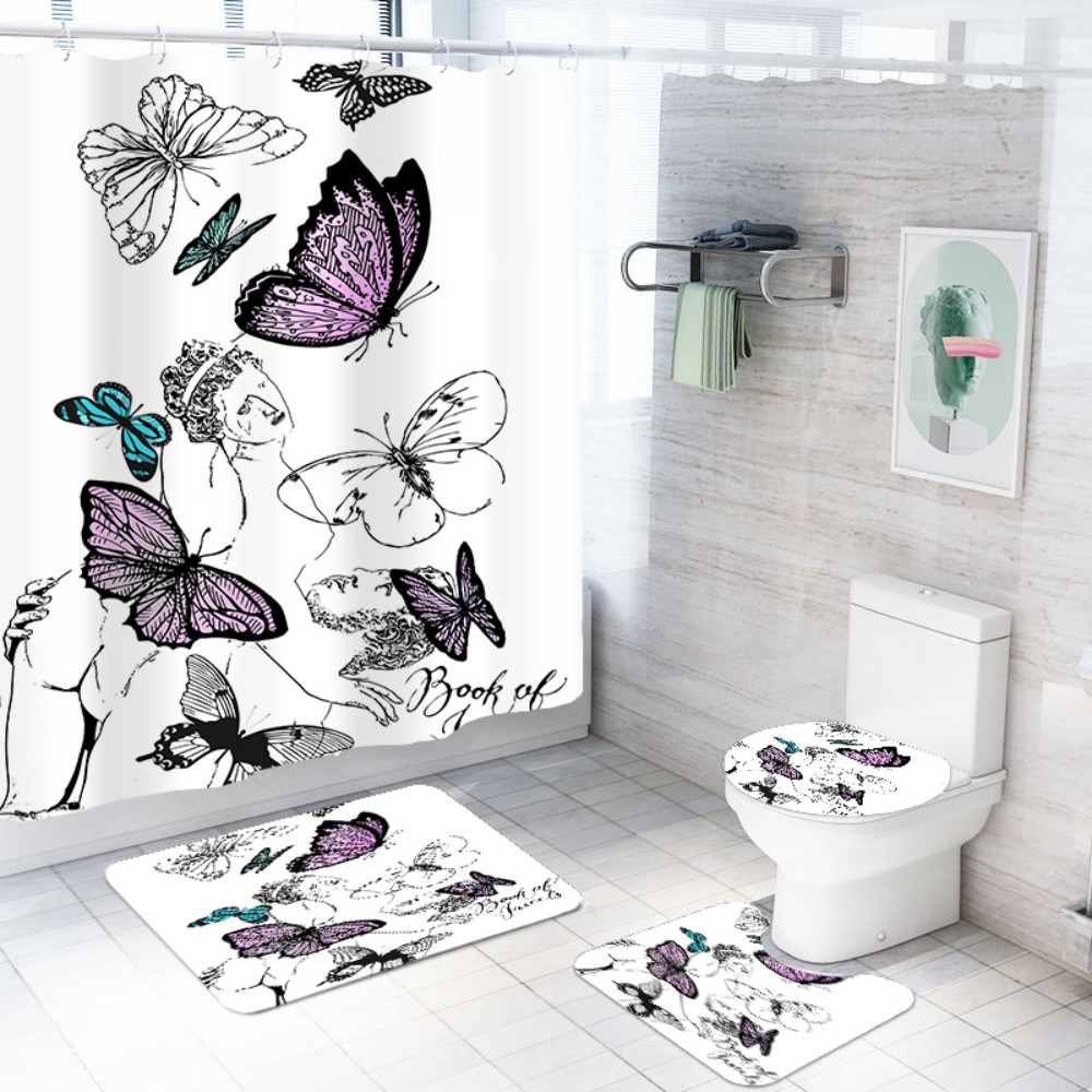 US $7.7 7% OFF7 Pcs Shower Curtain Set Butterfly Beauty Print Polyester  Waterproof Bath Curtain Non Slip Mat Toilet Cover White Insect