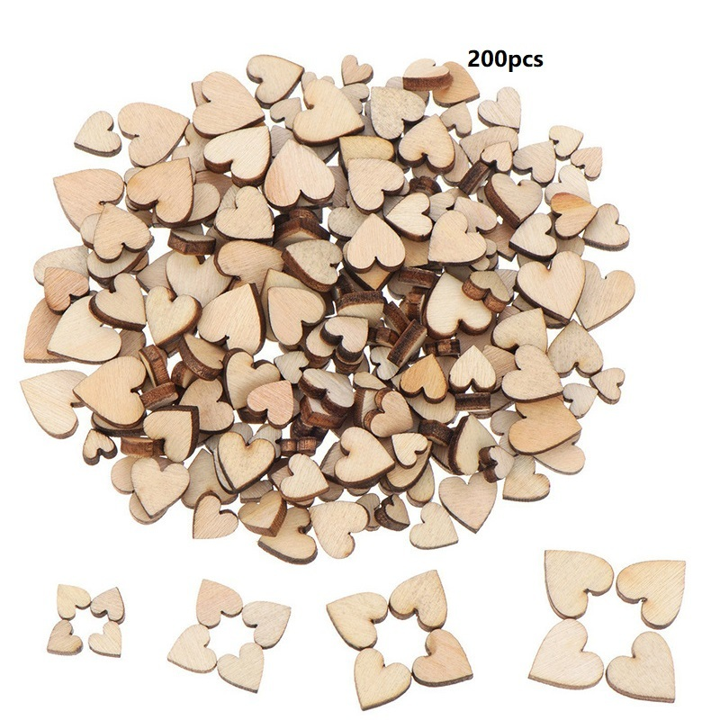 200/100/50pcs 6/8/10/12mm 4 Sizes Mixed Love Heart Shape Wedding Table Scatter Decor Rustic Wooden Wedding Decoration Buttons