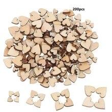 200/100/50 Uds 6/8/10/12mm 4 tamaños variados amor boda en forma de corazón decoración de dispersión de mesa botones de madera rústica decoración de boda