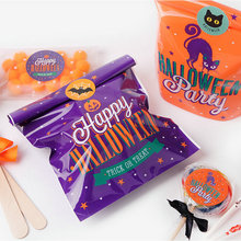 20/40Pcs Happy Halloween Gift Bag Candy Boxstick Smiley Pumpkin Seal Paper Halloween Party DIY Decoration Accessories halloween pumpkin head happy carnival decoration candy bar bunting garlands party decor wedding babyshower wreath slingers