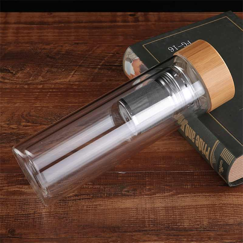 ZOOOBE 350/450 مللي جدار مزدوج زجاجات مياه من الزجاج مع فلتر الفولاذ المقاوم للصدأ و غطاء من البامبو الشاي Infuser الزجاج شرب زجاجة