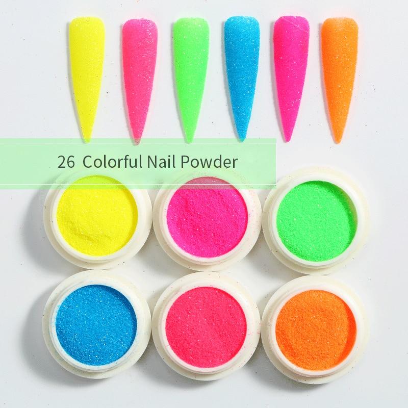 6 Boxes/Set Neon Phosphor Nails Powder Glitter Holographics Powder Polish Flakes Chrome Pigment Dust Nail Art Decoration